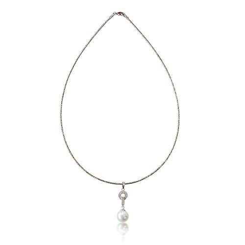 - 10K White Gold Omega Choker Handcrafted with Stunning White Freshwater Pearl and Contemporary CZ Diamond Pendant, Simple and Beautiful Drop Necklace, 17 Inch Chain with Lobster Clasp