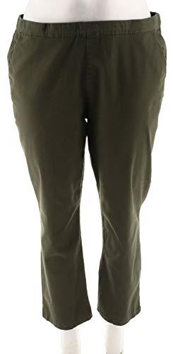 Denim Co Petite Twill Pull-on Straight Leg Pants A299331, Olive, PXL ()