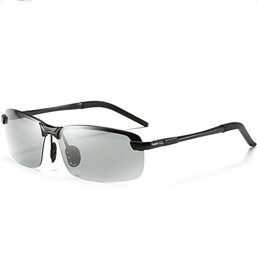 JPRLUCK Polarized Photochromic Lens Sunglasses Day and Night Driving Semi Frame Photosensitive Sunglasses for - Driving For Polarised Glasses Night