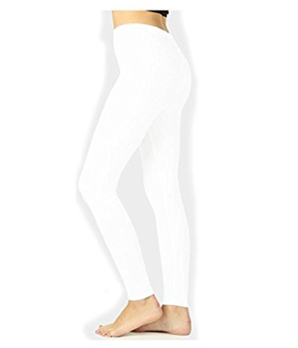 (JKC USA Selected Premium Cotton Full Length Solid Color Leggings OP-1851 (Medium, White))