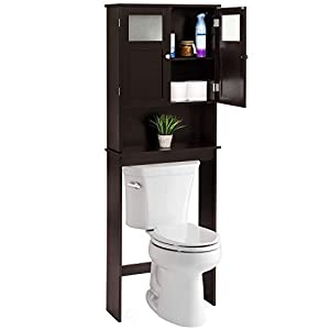 picture of Best Choice Products Bathroom Over-The-Toilet Space Saver Double Door Linen Toiletry Storage Cabinet Tower - Espresso