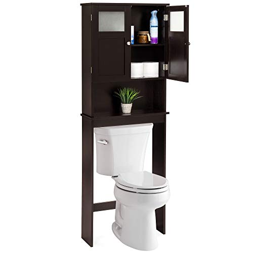 Best Choice Products Bathroom Over-The-Toilet Space Saver Double Door Linen Toiletry Storage Cabinet Tower - Espresso,best choice products