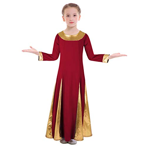 OBEEII Girls Praise Dancewear Dress Bell Sleeve Liturgical Metallic Loose Fit Swing Full Length Shiny Church Worship Lyrical Mime Costume Wine Red & Golden 13-14 Years -