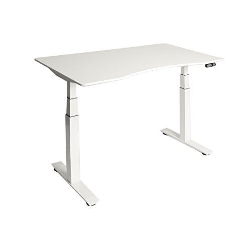 Seville Classics AIRLIFT S3 Electric Standing Desk Frame /w 54″ Top and 4 Memory Buttons LED Height Display (Max. Height 51.4″) – 3-Section Base, Dual Motors, White with White Top