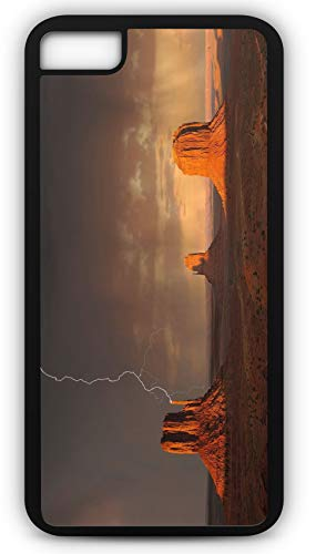 iPhone 8 Case Monument Valley Lightning Storm Rain Weather Customizable by TYD Designs in Black Plastic Black Rubber Tough Case