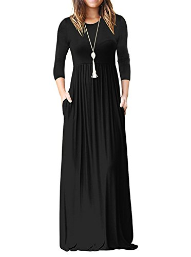 ReoRia Womens 3/4 Sleeve Loose Plain Maxi Dresses Casual Long Dresses with Pockets