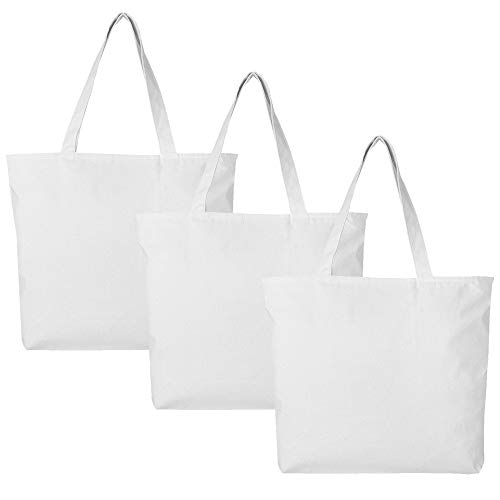 PACK OF 3 Large Heavy Canvas Plain Tote Bags, with Top and Inside Zipper Closure by BagzDepot (White)