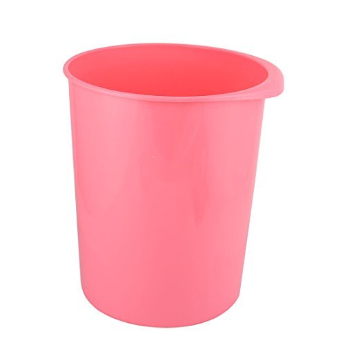 DealMux Plastic Family Office Round Shaped Trash Can Dustbin Garbage Container Pink