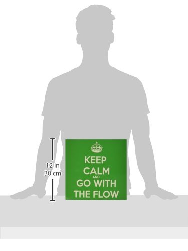 3dRose ct/_200858/_4 Keep Calm and Go with The Flow Green Ceramic Tile 12-Inch