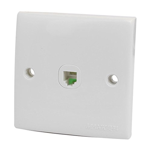 uxcell Telephone Phone Single Socket Wall Outlet Connector Panel Plate White w Screws -