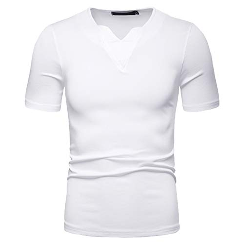 TANLANG Mens Fashion Quick Drying Solid Color T-Shirts Casual Sport Long Distance Marathon Fitness Short Sleeve Tops White