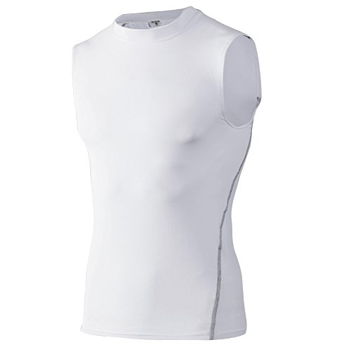 (TOPTIE Mens Compression Sleeveless Base Layer, Athletic Workout T-Shirt-White-M)