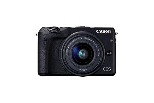 Canon EOS M3 Systemkamera (24 Megapixel APS-C CMOS-Sensor, WiFi, NFC, Full-HD) Kit inkl. EF-M 15-45 mm 1:3,5-6,3 IS STM Objektiv schwarz