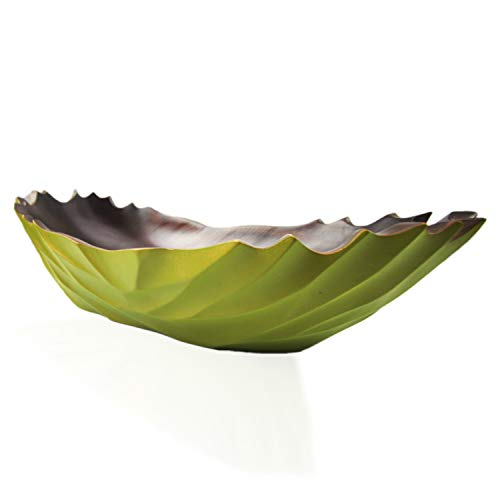 roro Modern Handcarved Wood Centerpiece Bowl, 16 Inch Green and Black