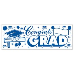 Congrats Grad Sign Banner (blue & white) Party Accessory  (1 count) (1/Pkg)