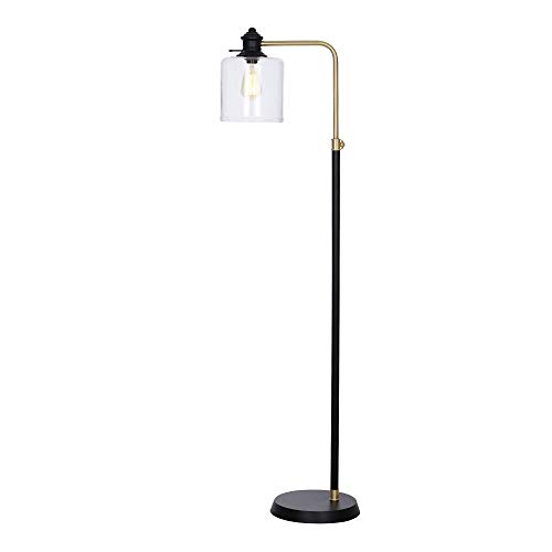 Stone Beam Mid-Century Modern Henley Living Room Standing Arc Floor Lamp with LED Light Bulb – 10.5 x 16.5 x 58 Inches, Matte Black and Antique Brass