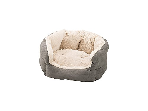 Sleep Zone Faux Suede Reversible Cushion Cuddler Dog Bed - Non-Woven Bottom - 18X16 Inches/Light Grey/Attractive, Durable, Comfortable, Washable. by Ethical Pets