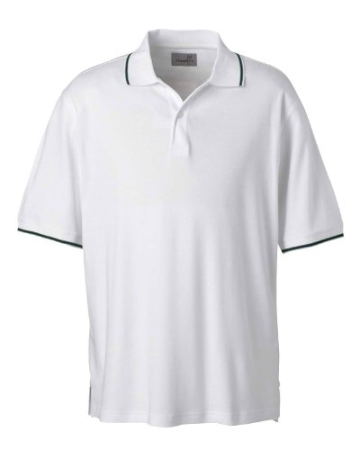 - Ashworth 1114C Men's Performance Wicking Blend Polo-Short Sleeve Polo-Small-White/Pine/Navy