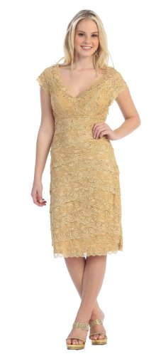 US Fairytailes Mother of the Bride Formal Short Lace Dress #2974