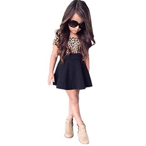 Vicbovo Girls Dresses, 2018 Fashion Summer Kids Short Sleeve Leopard Print Skater Dress Clothes for Toddler Baby Girl (Black, 6-7Y) -