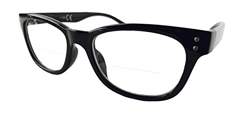 The Bifocal Reader WAYFARER Bifocal Reading Glasses (+2.00, - Glasses Reading On Top Lens Clear With