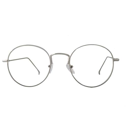 AISSWZBER Blue Light Block Women Metal Circle Non-prescription - Eyeglasses Discount Rimless