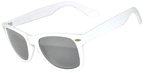 1 Pair Mirrored Reflective Silver Lens Sunglasses White Matte Frame Horn Rimmed - Lenses White