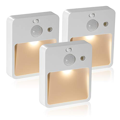 Stick-On Night Light, DORESshop Motion Sensor Night Light, USB Rechargeable Automatic LED Light, Closet Light, Wall Light for Bedroom, Bathroom, Hallway, Stairs, Energy Efficient, Compact, 3 Pack ()