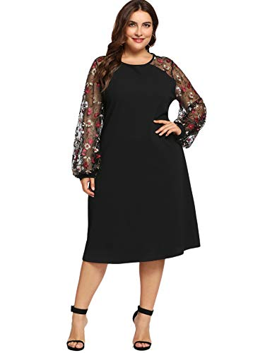 Milumia Women's Plus Size Floral Embroidered Mesh Bishop Sleeve Midi Dress 2XL