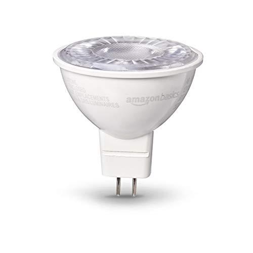 AmazonBasics 50 Watt 10,000 Hours Dimmable 500 Lumens LED GU 5.3 Base Light Bulb - Pack of 6, Daylight