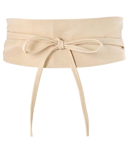 14987-CRM-OS:: KRISP One Size PU Waist Belt, Cream, One Size ()