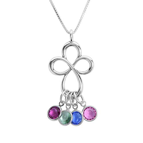 (Loving Family Infinity Cross Birthstone Charm Necklace - 4 Charms)