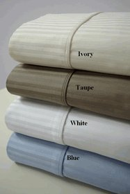 1000 THREAD COUNT - KING SIZE WHITE STRIPE - 100% EGYPTIAN COTTON SHEET SET = SOLD BY: HOTEL SUPPLY WAREHOUSE CENTER INC.