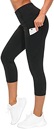 THE GYM PEOPLE Thick High Waist Yoga Pants for Women, Tummy Control Workout Running Yoga Leggings with Pockets