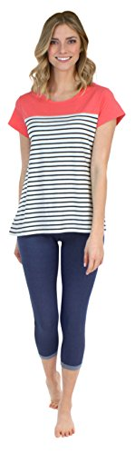 Spring Capri Jeans - Frankie & Johnny Women's Loungewear Short Sleeve Tee and Soft Strech Knit Denim Jean Jegging Capris Set, Coral (FJ1943-1062-MED)