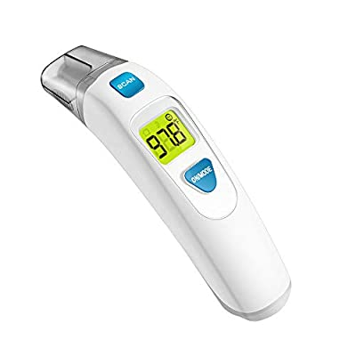 MIBEST Forehead and Ear Thermometer (2-in-1) - Digital Medical Baby, Kids, and Adult Infrared Thermometer - Child Temporal Thermometer with Fever Alert - 2 in 1 in Ear Temperature Thermometer