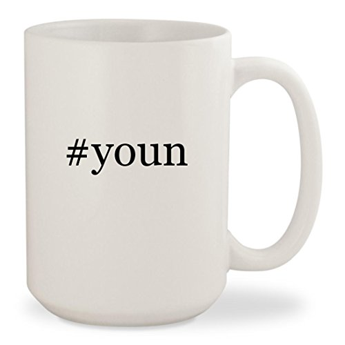 #youn - White Hashtag 15oz Ceramic Coffee Mug Cup (Chat Samsums)