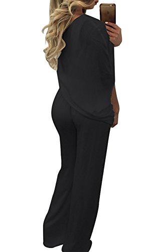 b8b140fd7a3 Frauen - Eleganten Knoten Seite Einer Schulter - Ruched Breite Bein Rompers  Overall Black j2ZCoZS