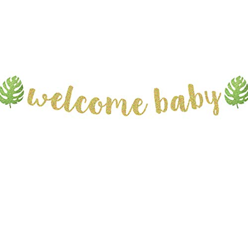 - Safari Baby Shower Glitter Welcome Baby Tropical Palm Leaves Banner Hawaiian/Jungle/Dinosaur/Summer/Monstera Leaf Luau Baby Shower Party Supplies Decorations Photo Booth Props