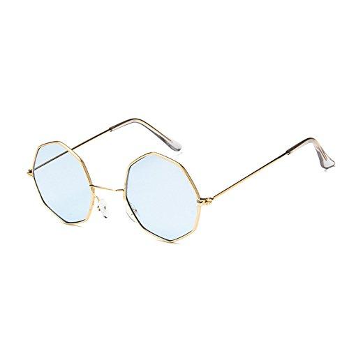 KLXEB Octogone Runde Sonnenbrille Vintage Steampunk Frauen Kleine Metallrahmen Gelb Rot Sonnenbrille Für Männer