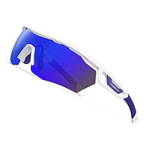 TOREGE Polarized Sports Sunglasses with 3 Interchangeable Lenes for Men Women Cycling Running Driving Fishing Golf Baseball Glasses TR05 (White&Blue&Blue REVO ()