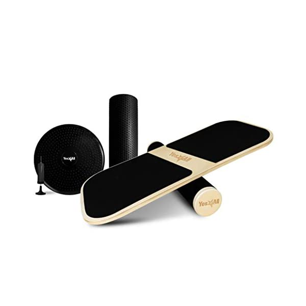 3 Different Distance Options 11 16 and 22 inches Yes4All Balance Board Trainer Wooden with Adjustable Stoppers