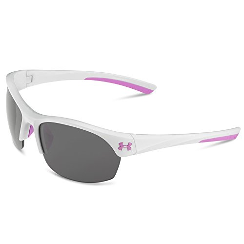 (Under Armour Rectangular, UA Marbella Shiny White/Pink Shock Frame/Gray/MULTIFLECTION Lens, M/L)