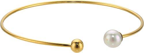 Round Pearls Bracelet Bangle (8MM White Round Pearl Gold Plated Bangle Bracelet)