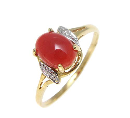 14K solid yellow gold genuine natural oval cabochon red coral diamond (color H-I, clarity SI2) 0.02 cttw ring
