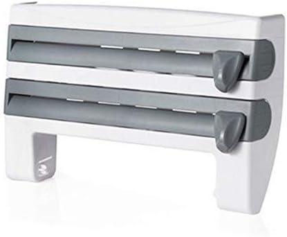Almacenamiento de cocina Organizador de cocina Cling Film Salsa Botella Almacenamiento Rack Esta/ño Papel de aluminio Toalla de cocina Estante de cocina Envoltura de pl/ástico Herramientas de corte-Blan