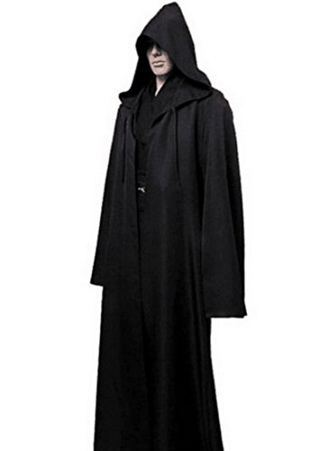 WAQIA Hooded Robe Cloak, Unisex Adult Christmas Halloween Magic Knight Fancy Cool Cosplay Party Costume -Full Length Hooded Cloak Vampire Capes (L, (Halloween Costume Ideas Black Robe)