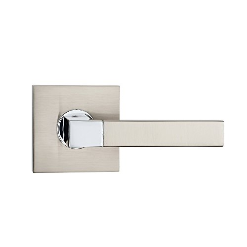 Fortessa ARES Series Contemporary Design Door Lever/Door Handle with Satin Nickel and Polished Chrome Dual Finish (Dummy Right, Satin Nickel) (Door Contemporary Designs)