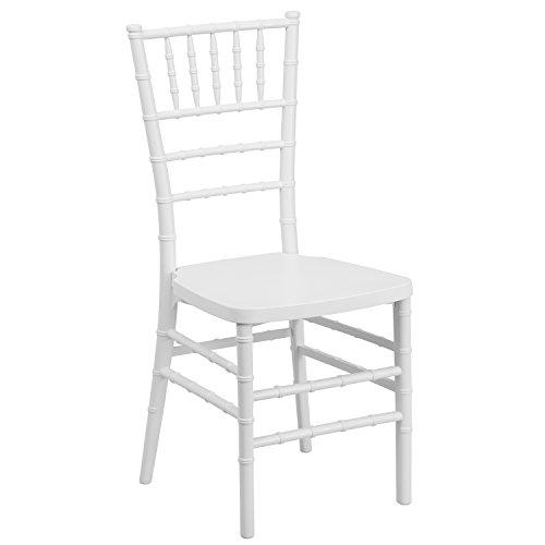 Flash Furniture HERCULES PREMIUM Series White Resin Stacking Chiavari Chair (Desk White Chairs Wood)