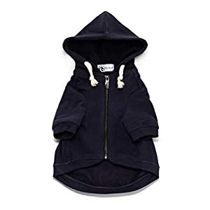 Ellie Dog Wear Adventure Zip Up Dog Hoodie Navy Blue with Hook & Loop Pockets and Adjustable Drawstring Hood - Size XXS to XL - Comfortable & Versatile Premium Dog Hoodies 36